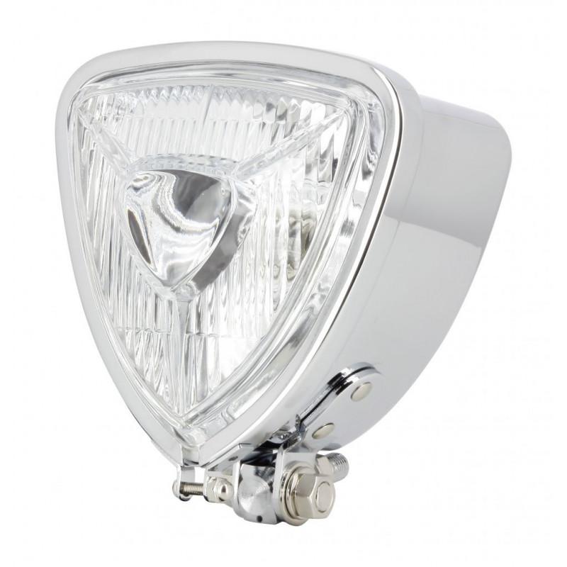 Phare Chrome Custom Triangle Fixation centrale custom Optique 110/110mm - Ampoule OL7650K