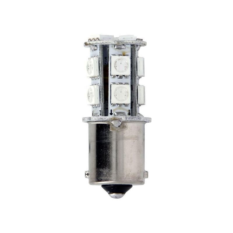 Ampoules de Projecteur 13 LED 3.3W Rouge 12V - BA15S SMD 5050 - Blister de 2 Ampoules